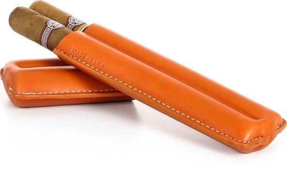 ReinholdKühn ダブルシガーケース 布製のトップ オレンジ