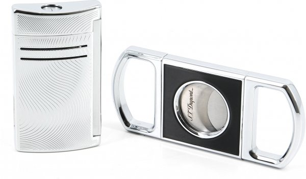 STデュポン ギフトセット シガーカッター&マキシジェットバイブレーションクローム(S.T. Dupont Gift Set Cigar Cutter and Maxijet Vibration Chrome)